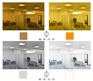 Photos showing different light levels