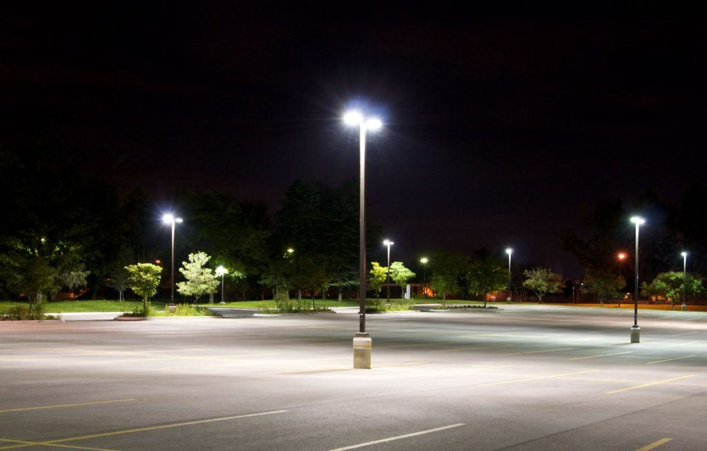 well lit parking lot