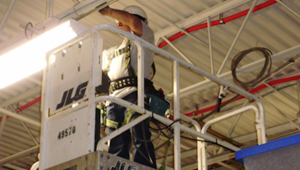 electrician working on lights